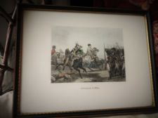 ANTIQUE FRAMED GLAZED TINTED ENGRAVING PRINT BATAILLE D'IENA GOOD COLOURS